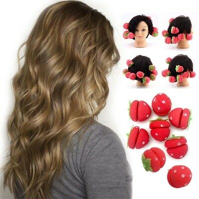 NEW Strawberry Sleep In Hair Curlers Roller Magic Soft Foam Sponge Curls All Age