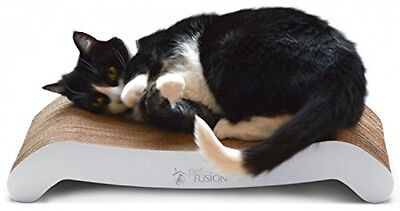 PetFusion Cat Scratcher FLIP PAD (White). Two Cardboard Designs In One