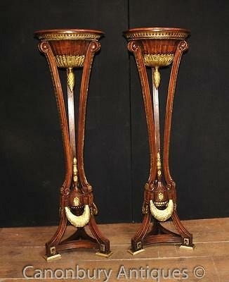Pair French Empire Torcheres Mahogany Stands Planters Jardinieres