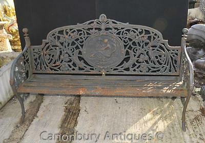 English Victorian Cast Iron Garden Bench Architectural Seat • CAD $2,363.70
