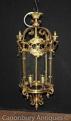 English Victorian Brass Lantern Light Architectural Chandelier