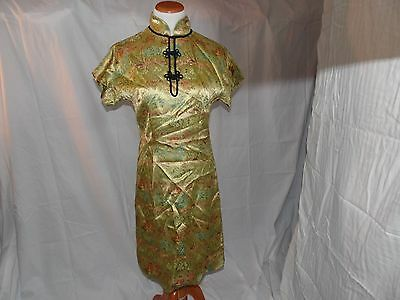 Vintage Chinese Yellow Cheongsam Multi Color Floral Brocade Embroidery