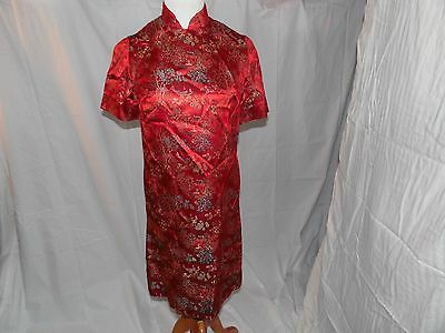 Vintage Red Chinese Cheongsam Floral Brocade Embroidery