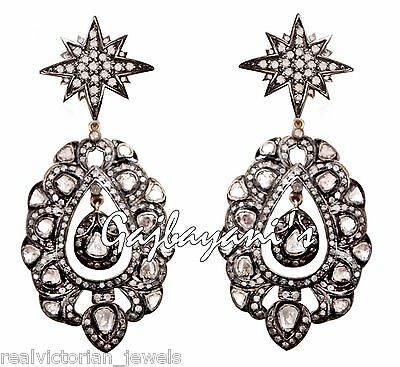 GORGEOUS ANTIQUE STYLE 6.85 Ct.ROSE CUT DIAMOND 14 K GOLD/SILVER EARRING