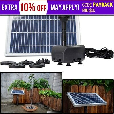 5W 12V Solar Powered Panel Water Pump  Pool Garden Pond Submersible Fountain Kit