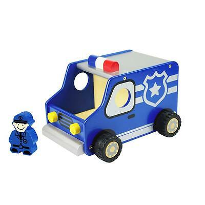 NEW I'm Toy Deluxe Wooden Police Truck with Policeman