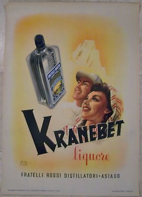 Reduced 100!! Unfolded 1946 Kranebet Liquore Poster - Great Artwork!