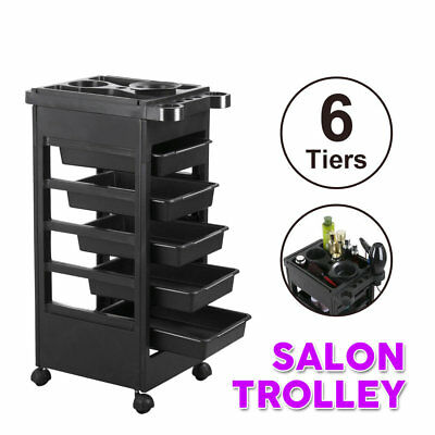 Hairdresser Salon Spa Multifunction Hair Trolley 6 Tiers Rolling Storage Cart