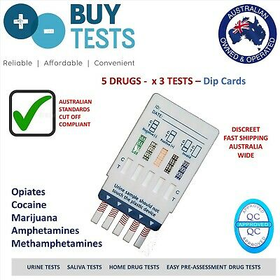 3 X Urine drug test kit, Detects 5 drugs by dip card. Incl METH,THC,AMP,COC,OPI