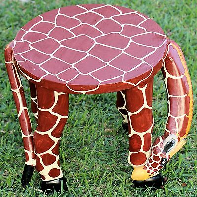 STOOL SEAT Giraffe AFRICAN MADE Wooden Carved Painted Coffee Table wood 30*45cm