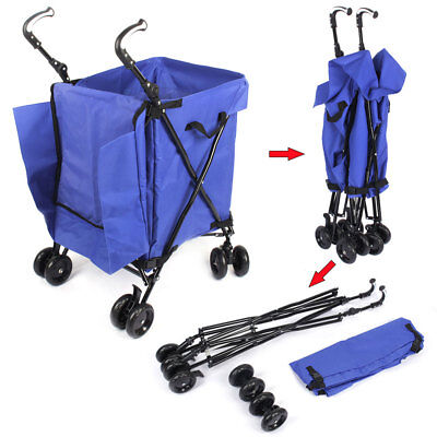 New Shopping Cart Carts Trolley Steel Bag Foldable Luggage Wheels Folding Basket