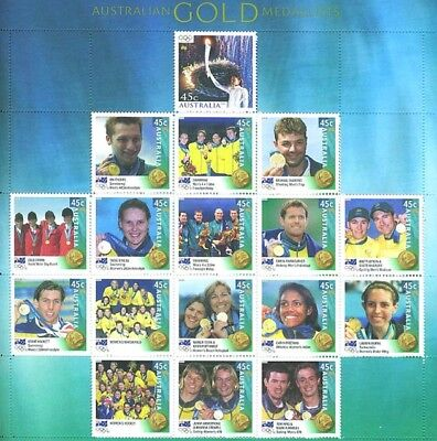 Australia Scarce Mint Sydney 2000 Olympics Stamp Sheet Gold Medallists Composite