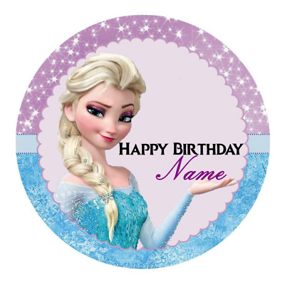 Frozen Personalised Edible Birthday Party Cake Decoration Topper Image