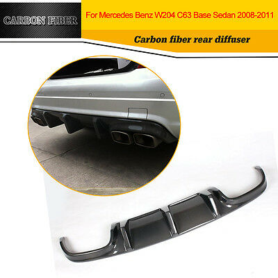 Carbon Fiber Rear Diffuser Bumper Fin Lips for Mercedes Benz W204 C63AMG 08-11