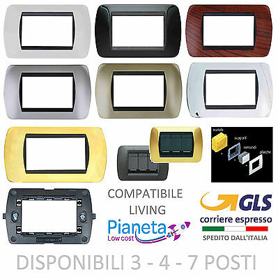 Placche Compatibili Living Internation 3 4 7 posti moduli supporti Placca COLORI