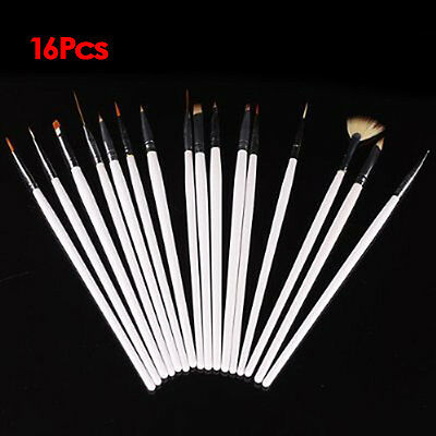 16 tlg Pinsel UV GEL Nagel NailArt Acryl Dotting tool Modellage Set GY