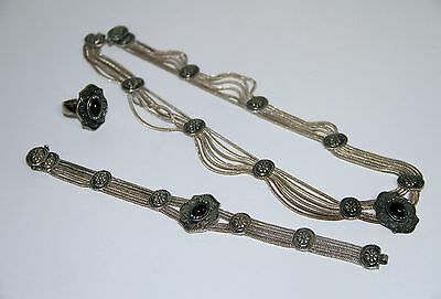 CON001 VINTAGE SET. SILVER AND AMBER. POSSIBLY MEXICO. 80s