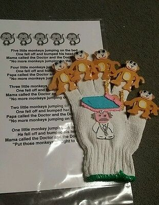 Felt Story/glove Puppet/educational Teacher Resource - 5 Cheeky Monkeys Jumping