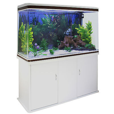 Fish Tank Aquarium Complete Set Up Tropical Marine 4ft 300 Litre White Cabinet