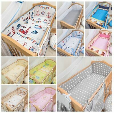 3 Piece Nursery Cot Bedding Set With Large All Round Safety Bumper