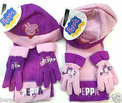 Disney Peppa Pig Hat Scarf Gloves Purple Girls Toddler Winter Clothes