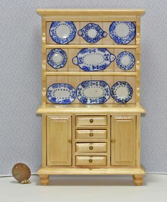 Dollhouse Miniature Natural Wood Buffet Filled with Blue and White Porcelain Pla