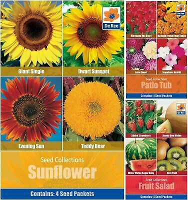De Ree Fruits Vegetables & Flowers Seeds 4 in 1 Pack for Gardens & Outdoors