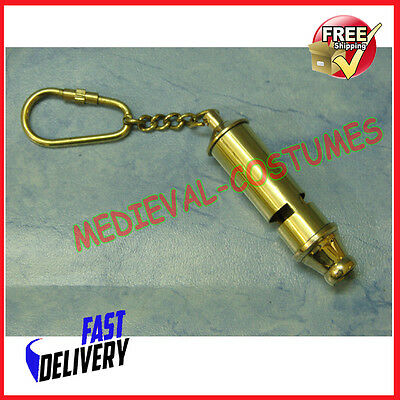 Brass Nautical Loud Ships Scouts Whistle Ring Or Key Chain New