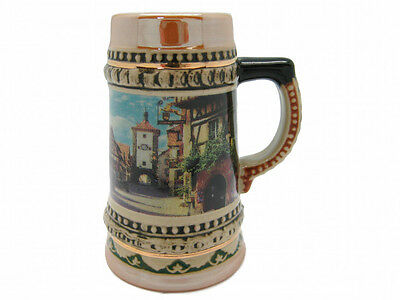 Ceramic Beer Stein German Village Scene Shot