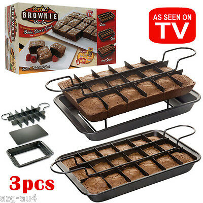 NEW Brownie pan with divider Removable Bottom 20x31.5x4.5cm Lamington/Slice Pan