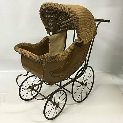 Antique Victorian 19th C Ornate Wicker Baby Doll Stroller Carriage Buggy Pram