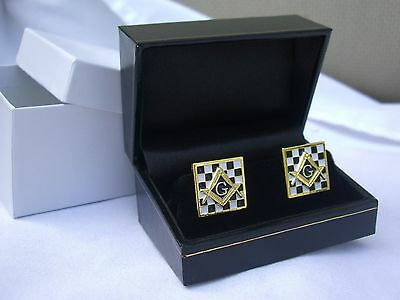 Masonic Lodge Freemason Enamel Mosaic Checkered Pavement Cufflink Gift Boxed