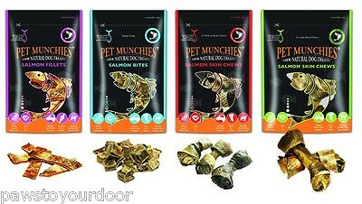 Pet Munchies Dog Treats Chews Gourmet Salmon Skin Fillets Bites Puppy