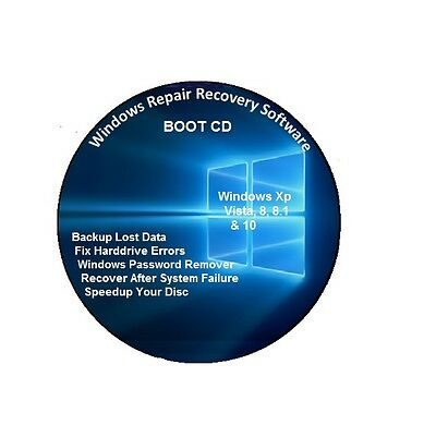 Windows Recovery Repair System Boot Disc CD Fix XP,Vista,7,8,8.1,10,Linux PC