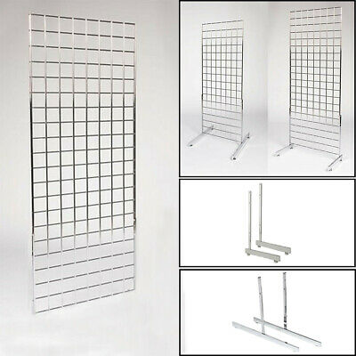 Chrome Heavy Duty Gridwall Mesh Grid Wall Panel On Legs Retail Shop Display