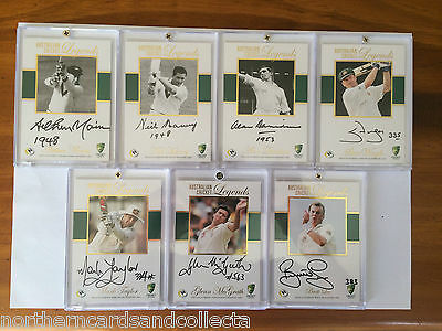 2014 TAP 'n' PLAY AUSTRALIAN CRICKET LEGENDS FULL SET OF 7 SIG CARDS ALL #08/50