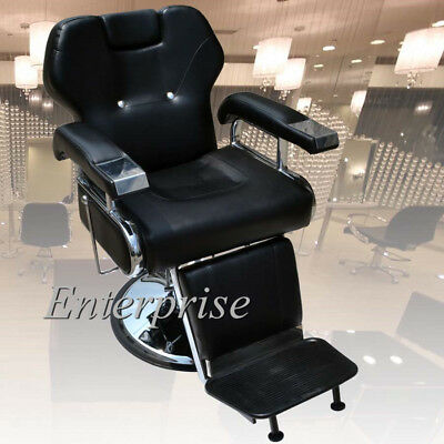 Black Barber Chair Salon Equipment Hydraulic Reclining Spa Hairdressing Shaving