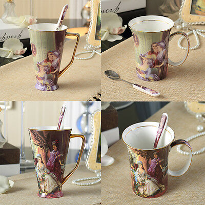 Porcelain Coffee Mug Ceramic Tea Cup LADIES & PIANO incl. spoon CHRISTMAS Gift