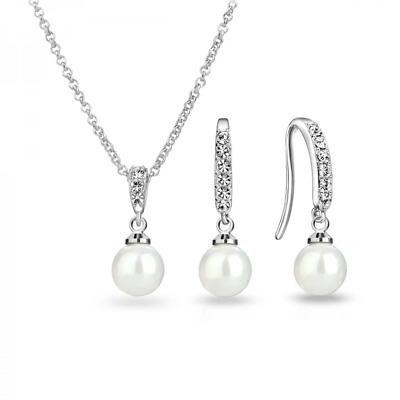 Pearl Drop Necklace and Earrings Set with Crystals from Swarovski® in Gift Box