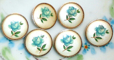 #1498Q Vintage Glass buttons Japan Japanese Button Flowers Limoges NOS Blue Rose