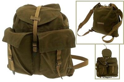 Vintage Canvas Backpack Travel Rucksack Military Style Outdoor New