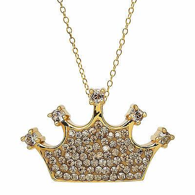 Crystaluxe Crown Pendant w/ Swarovski Crystals in 18K Gold over Sterling SIlver