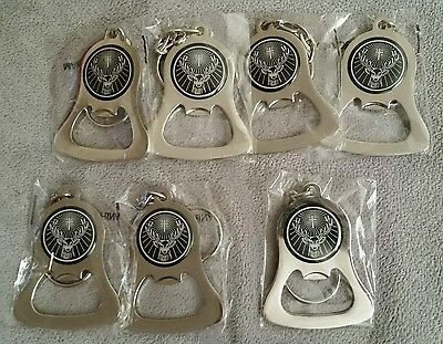 Lot of 7 Jagermeister Metal Bell Keychain Bottle Openers-New in package
