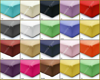 Plain Dyed 100% Poly Cotton Fitted Sheets Flat Sheets or Pillow Cases All Sizes