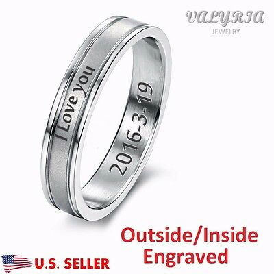 Personalized Engraved Stainless Steel Lover's Couple Ring Promise Wedding Band