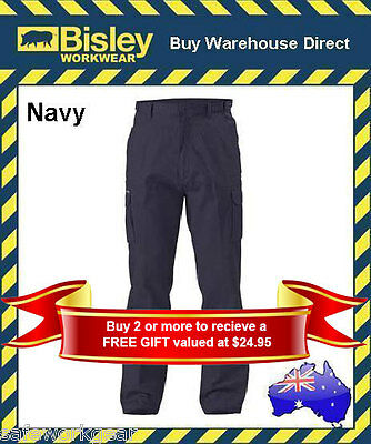 Bisley Workwear NAVy 8 Pocket Cargo Cotton Drill Mens Work Trouser Pant BPC6007
