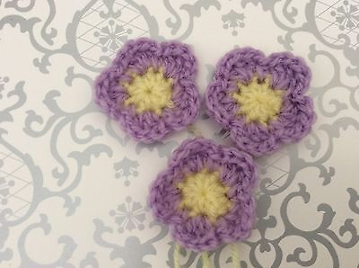 Set of 3 lavender CROCHET FLOWERS 3.5cm - embellishments appliqués hair clips