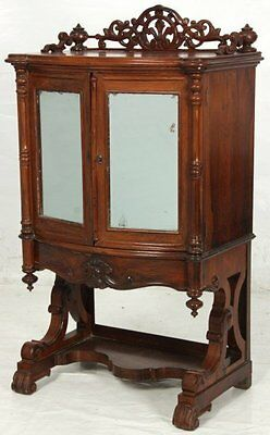 c1860 Rococo Victorian music cabinet, rosewood, divided int,birdeye maple, 42t,