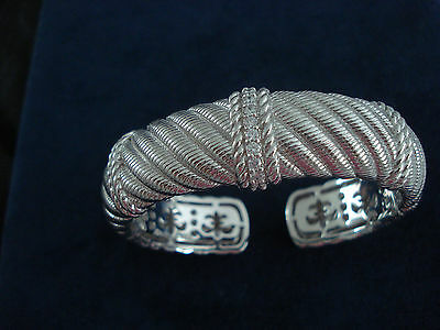 Judith Ripka Designer Sterling Diamonique Hinged Cuff Cable Detail Bangle