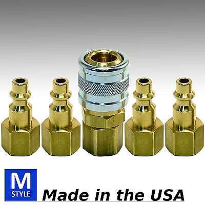 5pc Brass Quick Coupler Set Air Hose Connector Fittings 1/4 NPT Tools Plug